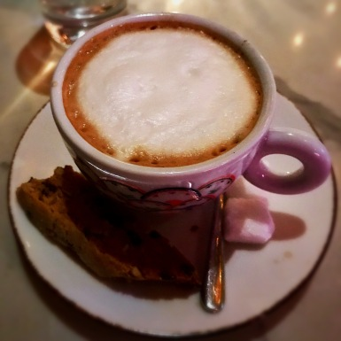 My cappuccino and biscotti