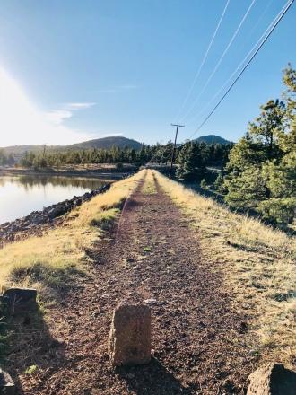 Empty walkway nearby lake